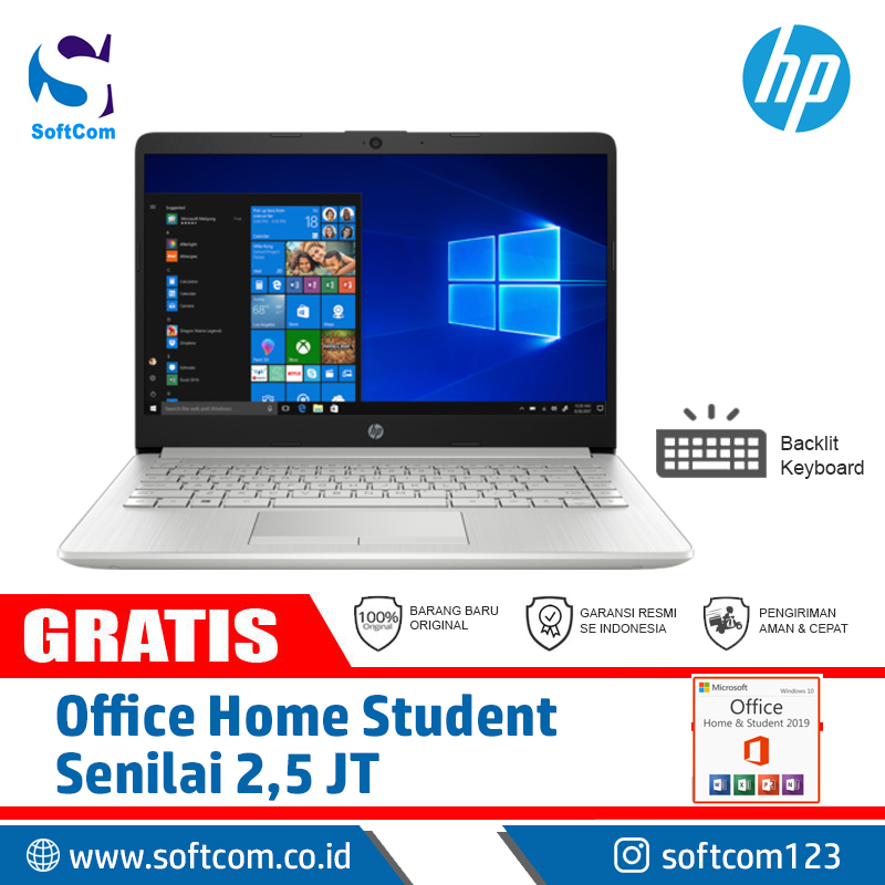 Hp 14s Cf0130tu Core I3 8130u Free Office Home Student Softcom